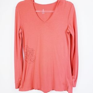 ISIS Yoga - Coral V-neck Hooded Popover Top